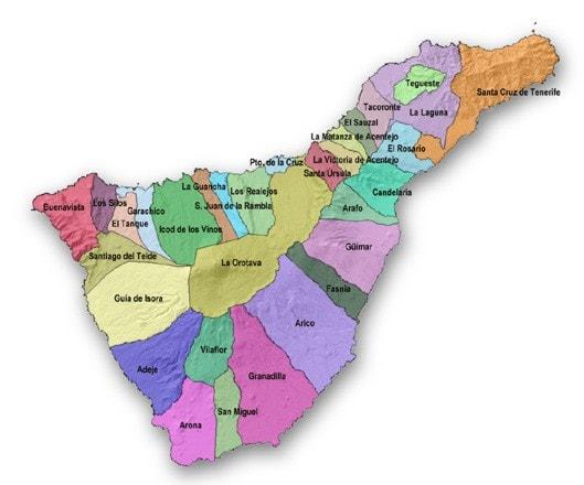 Mapa De Tenerife Municipios.Tenerife Mapa De Municipios 2 Larendija Es