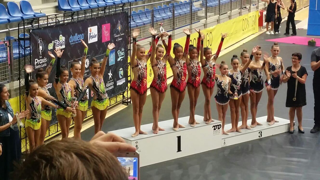 Las gimnastas alevines del club Adoney participan en el Campeonato de España