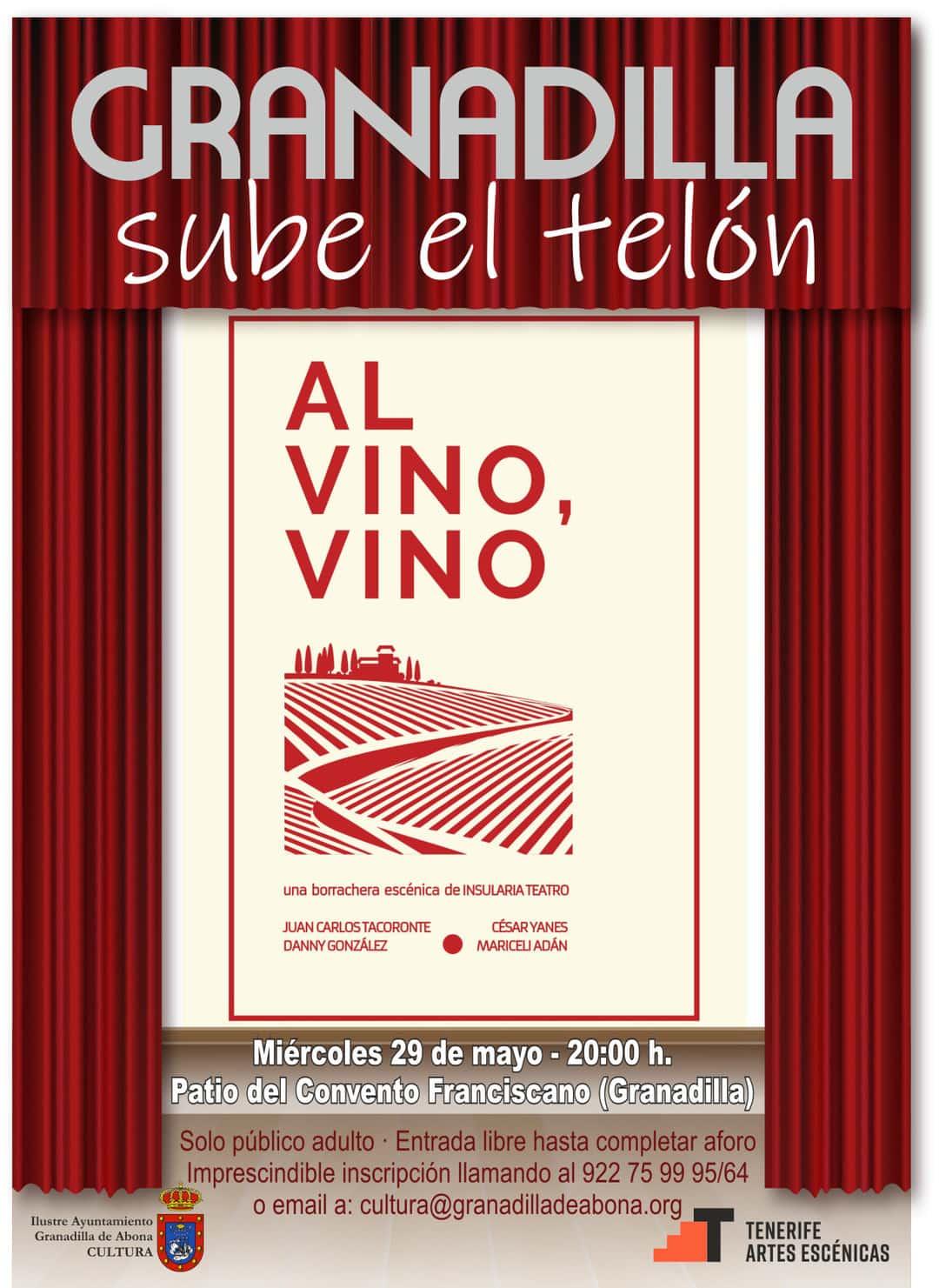 El espectáculo para adultos 'Al vino, vino', de Insularia Teatro, este miércoles en el Convento Franciscano con motivo del 'Día de Canarias'