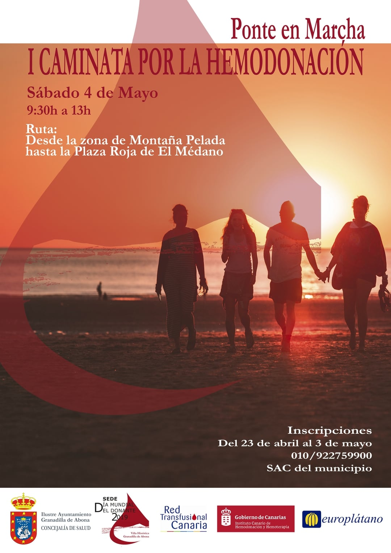 La actividad 'Ponte en Marcha. I Caminata por la Hemodonación', este sábado en El Médano